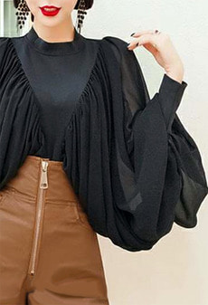 Drape big puff blouse